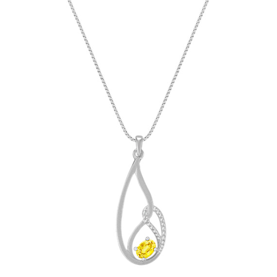 "Oval Yellow Sapphire and Sterling Silver Pendant (18"")"