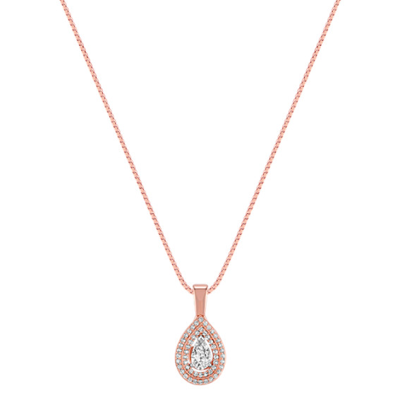 Pear-Shaped and Round Diamond Pendant in Rose Gold (18)