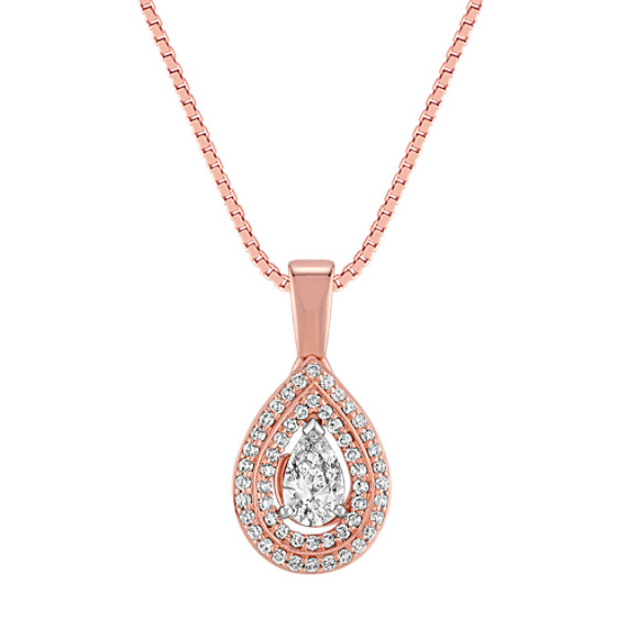 Pear Shaped and Round Diamond Pendant in Rose Gold (18)