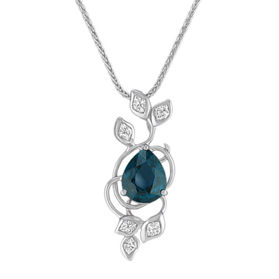 Pear Shaped Blue Green Sapphire and Calla Cut Diamond Pendant (18)