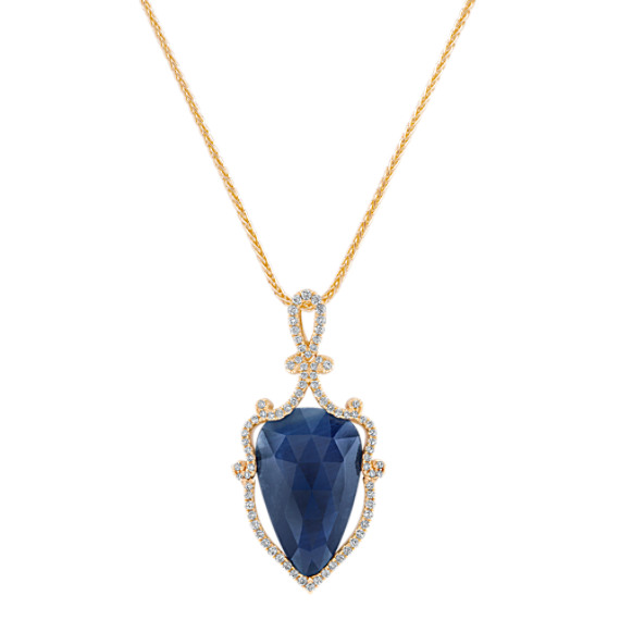 Pear-Shaped Cabochon Sapphire Slice and Round Diamond Pendant (18)
