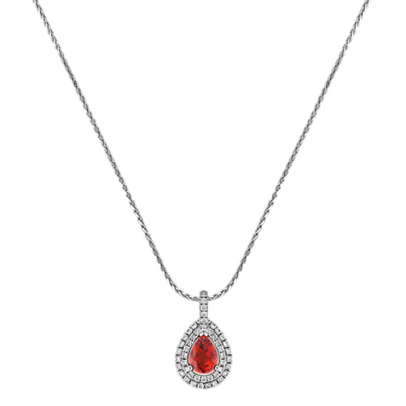 Pear-Shaped Fire Sapphire and Diamond Double Halo Pendant (18)
