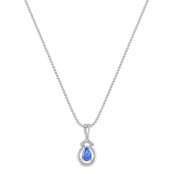 Pear Shaped Kentucky Blue Sapphire and Diamond Pendant in Sterling Silver (18)