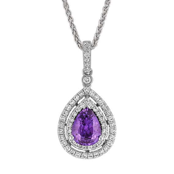 Pear-Shaped Lavender Sapphire and Diamond Double Halo Pendant (18)