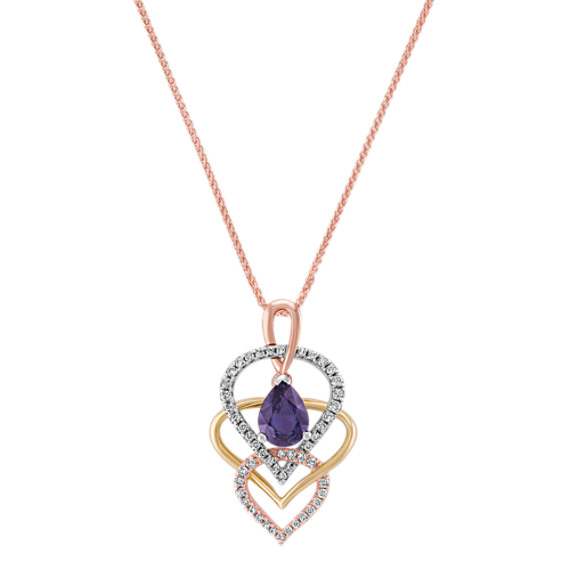 Pear Shaped Lavender Sapphire and Round Diamond Pendant in Tri-Tone Gold (18)