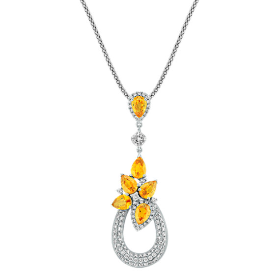 Pear Shaped Orange Sapphire, Calla Cut and Round Diamond Pendant (22)