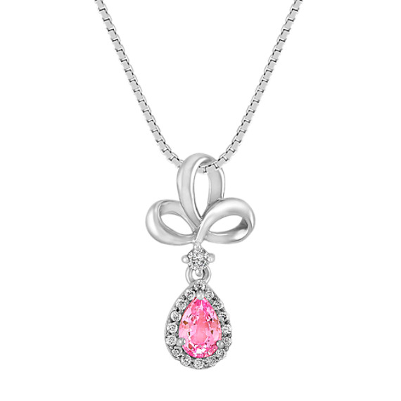 "Pear-Shaped Pink Sapphire and Round Diamond Pendant (18"")"
