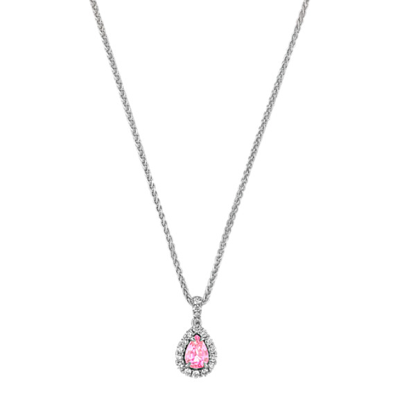 """Pear-Shaped Pink Sapphire and Round Diamond Pendant (18"""")"""