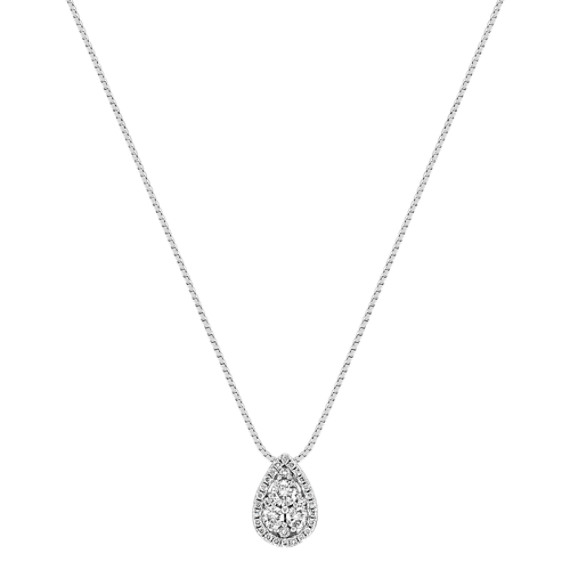 Pear Shaped Round Diamond Cluster Pendant (18)