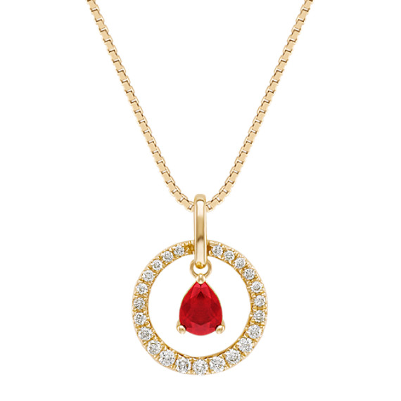 "Pear-Shaped Ruby and Diamond Pendant (18"")"