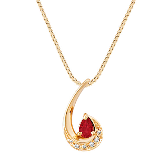Pear-Shaped Ruby and Diamond Pendant (18)