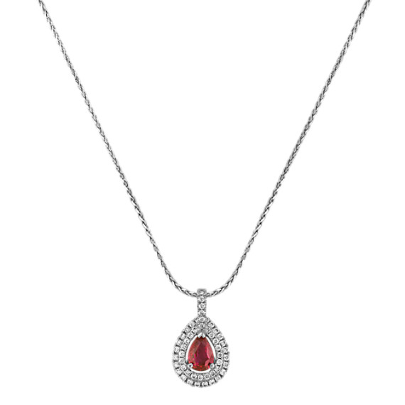 """Pear-Shaped Ruby and Round Diamond Double Halo Pendant (18"""")"""