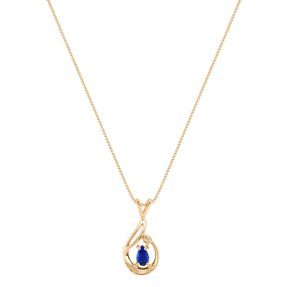 Pear-Shaped Sapphire and Diamond Pendant (18)