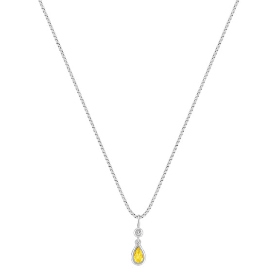 Pear-Shaped Yellow Sapphire and Round Diamond Pendant (18)