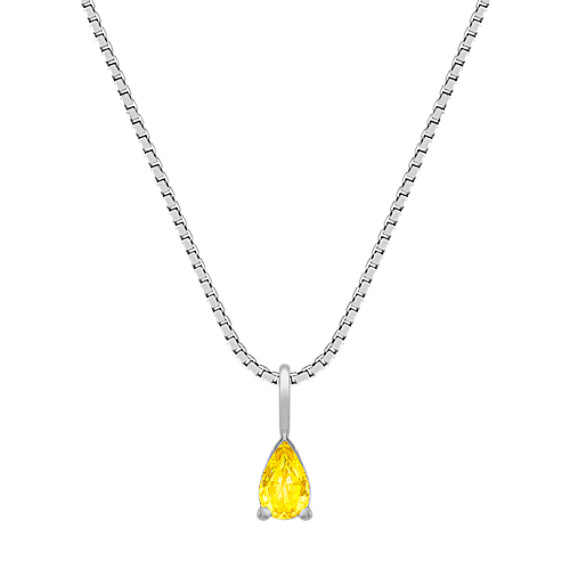 "Pear Shaped Yellow Sapphire Pendant (18"")"