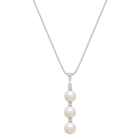 Pearl and Diamond Pendant Necklace (18) 6mm Freshwater