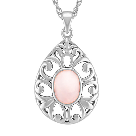 Pink Quartz and Sterling Silver Teardrop Pendant (18)