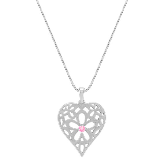 Pink Sapphire and Sterling Silver Heart Pendant (18)