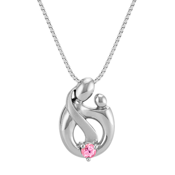 "Pink Sapphire Mother & Child Pendant in Sterling Silver (18"")"