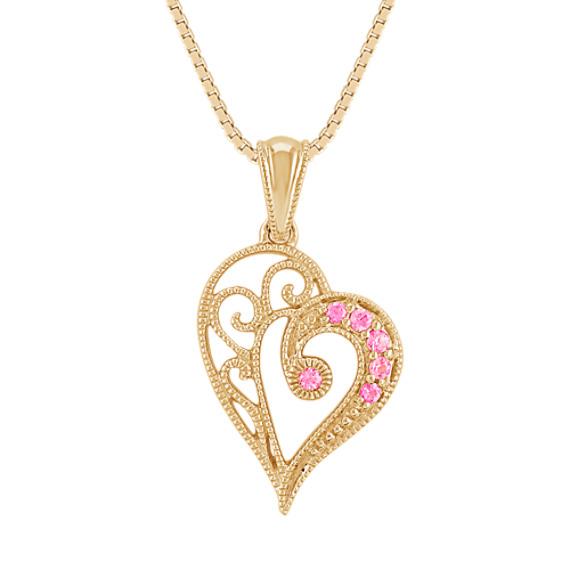 Pink Sapphire Vintage Heart Pendant (18)