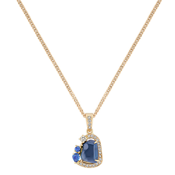 "Polished Rough, Pear Shaped, and Round Sapphire, and Round Diamond Pendant (18"")"