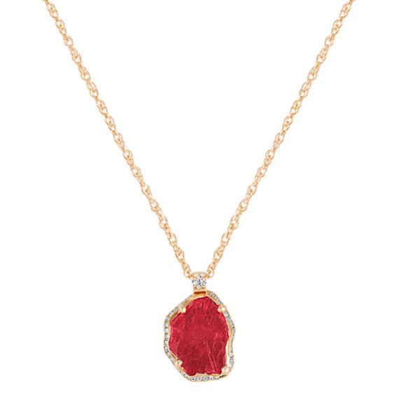 Polished Rough Ruby and Princess Cut and Round Diamond Pendant (18)