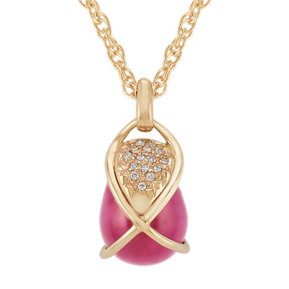 Polished Rough Ruby and Round Diamond Pendant (20)