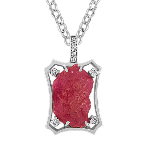 Polished Rough Ruby and Round Diamond Pendant (18)