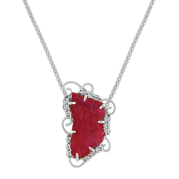 Polished Rough Ruby Slab and Round Diamond Pendant (22)