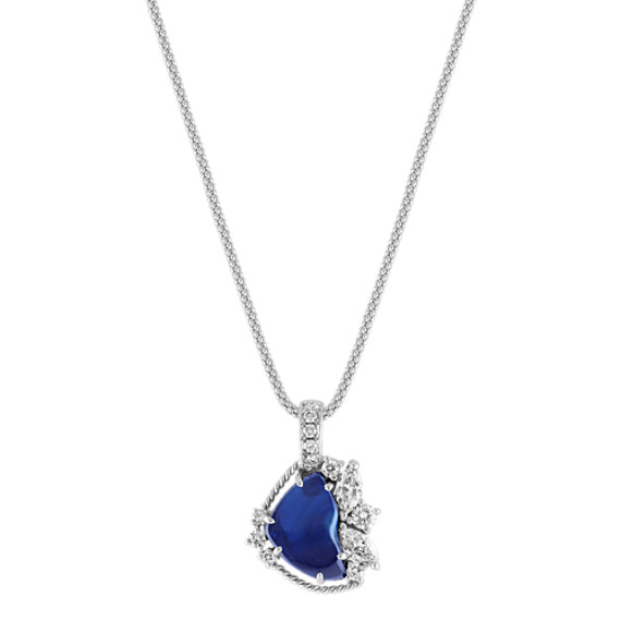 Polished Rough Sapphire, Marquise and Round Diamond Pendant (22)