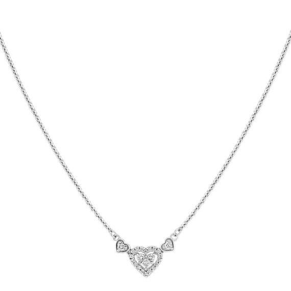 "Princess Cut and Round Diamond Heart Necklace (16"")"