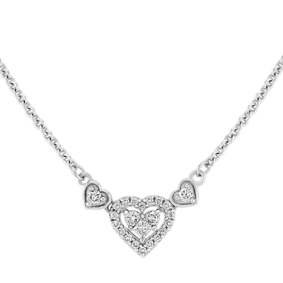 Princess Cut and Round Diamond Heart Necklace (16)