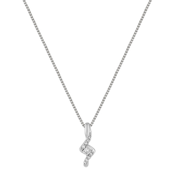 "Princess Cut and Round Diamond Sterling Silver Pendant (18"")"