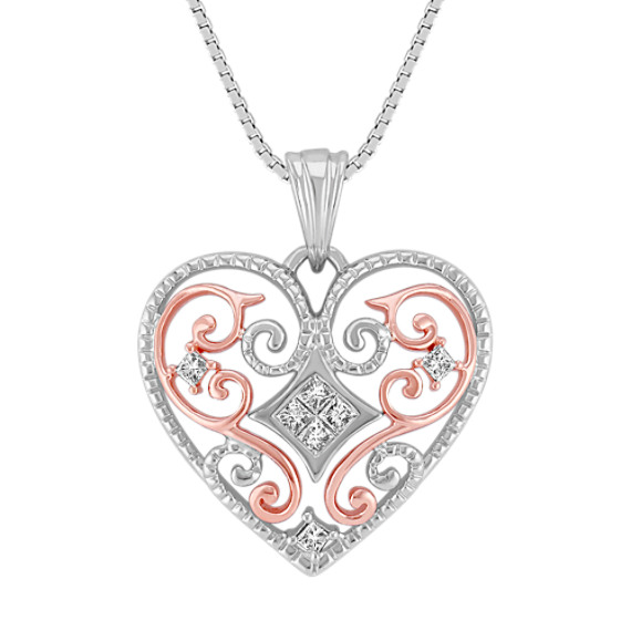 Princess Cut Diamond Heart Pendant in 14k Rose Gold and Sterling Silver (18)