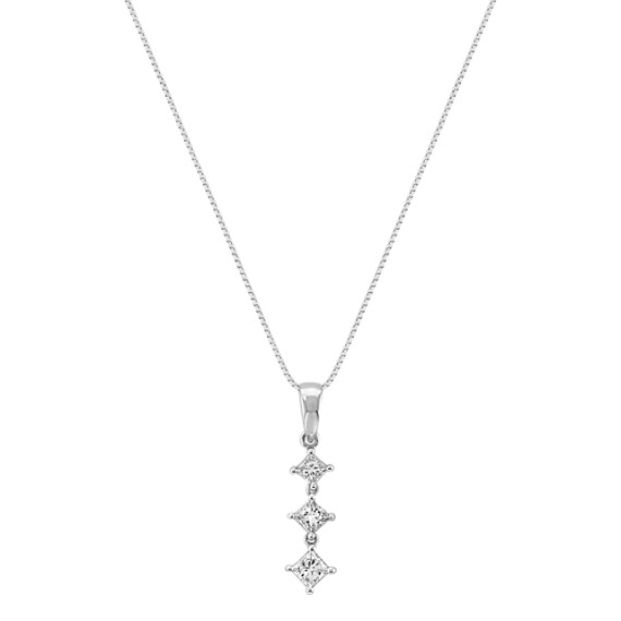 "Princess Cut Diamond Three-Stone Pendant (18"")"
