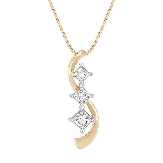 Princess Cut Diamond Three-Stone Pendant (18)