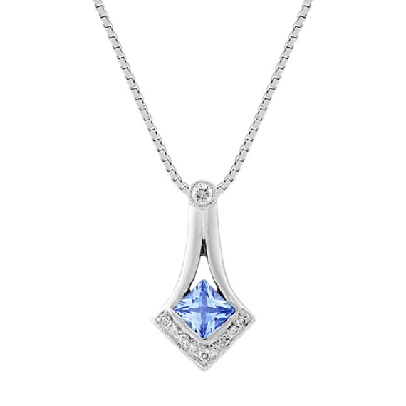 Princess Cut Ice Blue Sapphire and Diamond Pendant (18)