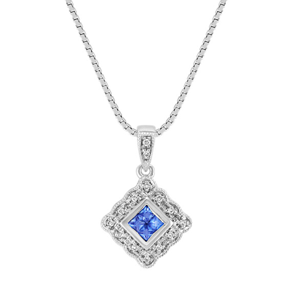 Princess Cut Kentucky Blue Sapphire and Round Diamond Pendant (18)