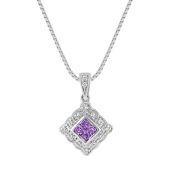 Princess Cut Lavender Sapphire and Round Diamond Pendant (18)