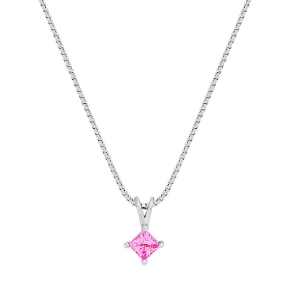 Princess Cut Pink Sapphire Pendant (18)