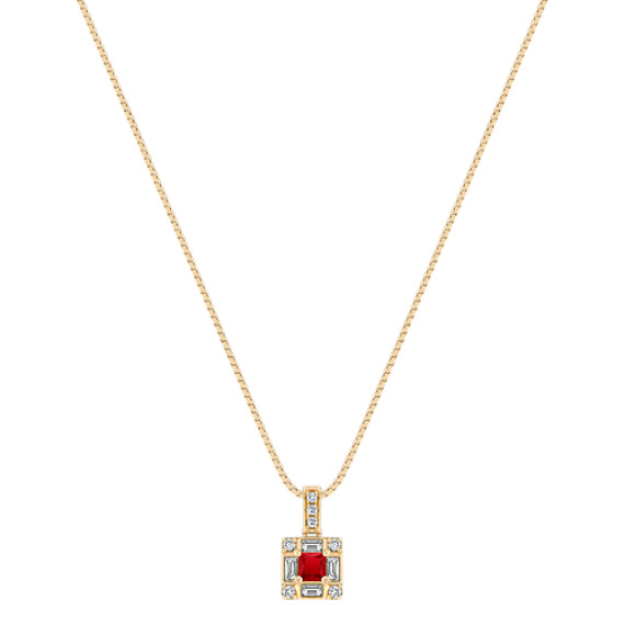 Princess Cut Ruby, Baguette and Round Diamond Square Pendant in 14k Yellow Gold (18 in.)