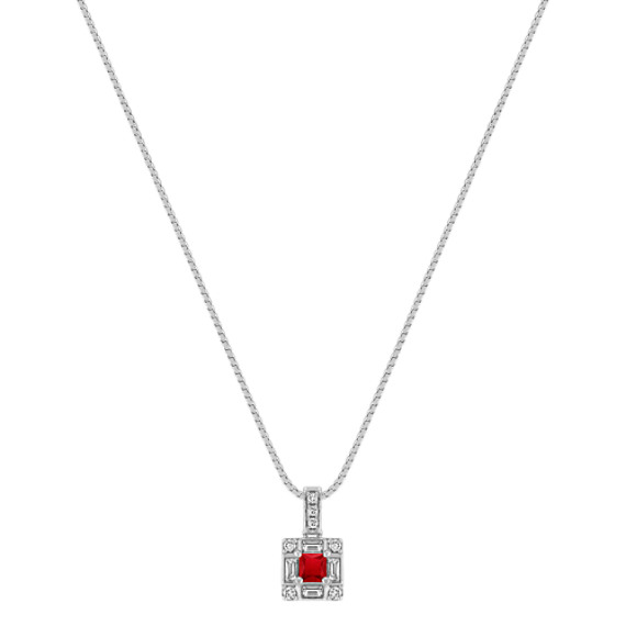 Princess Cut Ruby, Baguette and Round Diamond Square Pendant (18)