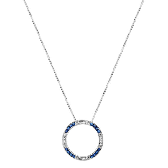 Princess Cut Sapphire and Round Diamond Circle Pendant (18)