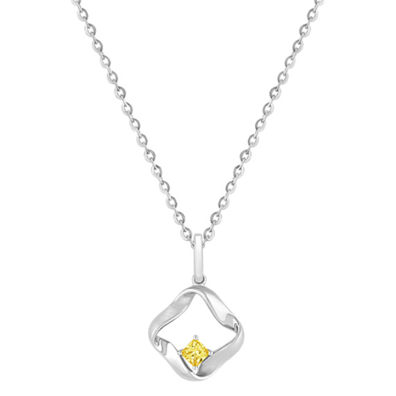 "Princess Cut Yellow Sapphire and Sterling Silver Pendant (18"")"