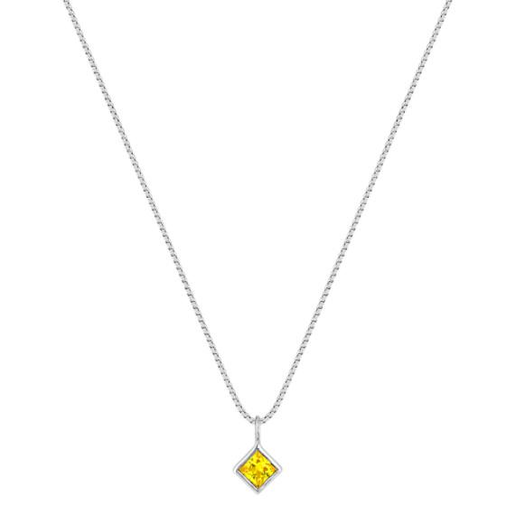 Princess Cut Yellow Sapphire Pendant (18)