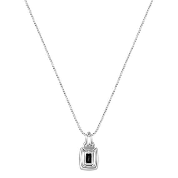 "Radiant Cut Black Sapphire and Round Diamond Frame Pendant (22"")"