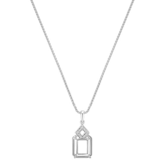 "Rectangle and Diamond Shaped Pendant for Emerald Cut Gemstone (22"")"