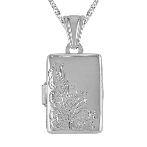 "Rectangle Locket in Sterling Silver (18"")"