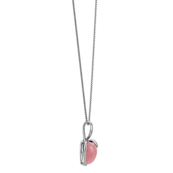 """Rhodochrosite Heart Pendant in Sterling Silver (18"""")"""