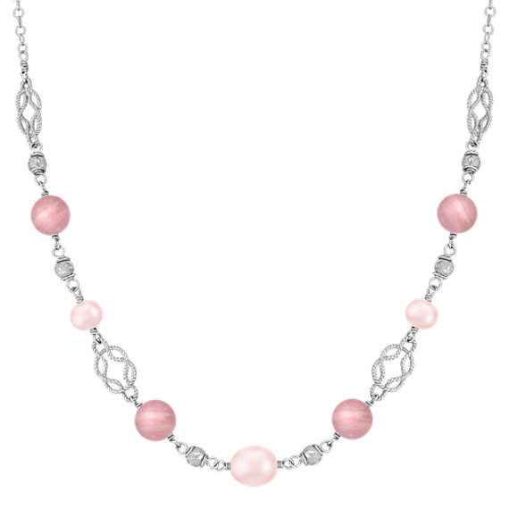 "Rhodonite, 6.5-9mm Pink Cultured Freshwater Pearl, and Sterling Silver Necklace (20"")"